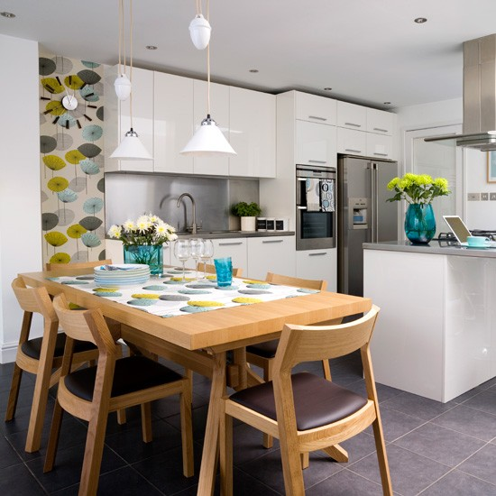 White kitchen with Retro Wallpaper photo - 1