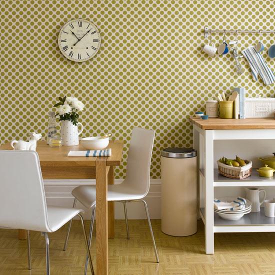 White kitchen with Retro Wallpaper photo - 3