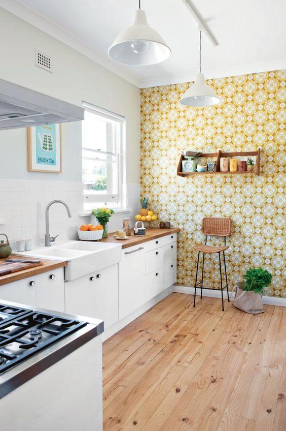 White kitchen with Retro Wallpaper photo - 4