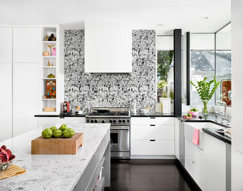 White kitchen with Retro Wallpaper photo - 5