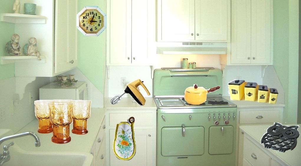 White kitchen with Retro Wallpaper photo - 6