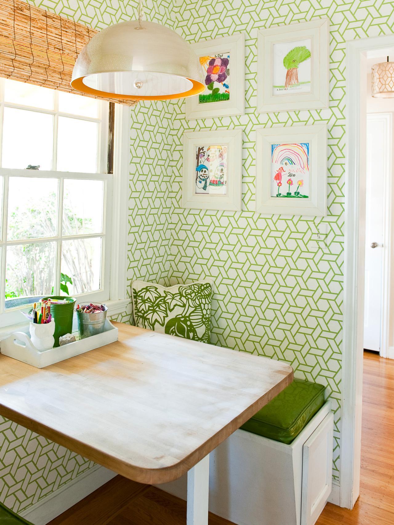 White kitchen with Retro Wallpaper photo - 8