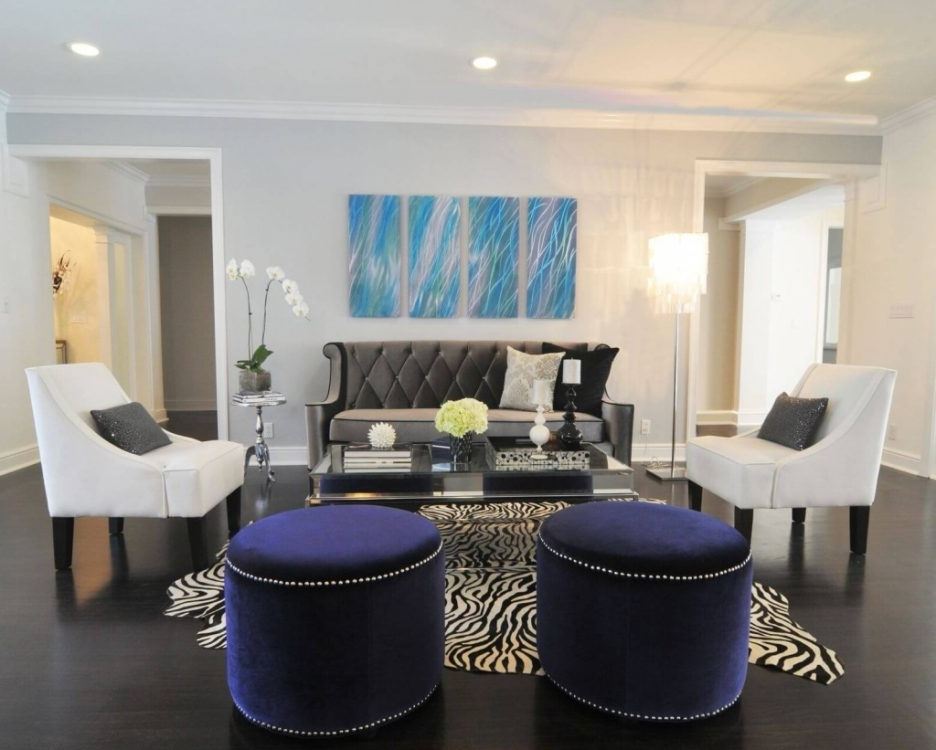 Zebra Chairs and Ottoman Center Table photo - 2