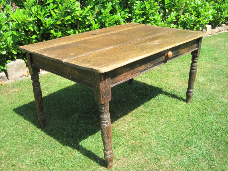 antique kitchen table with drawer photo - 2