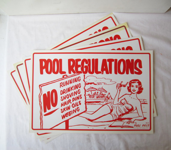 antique swimming pool signs photo - 7