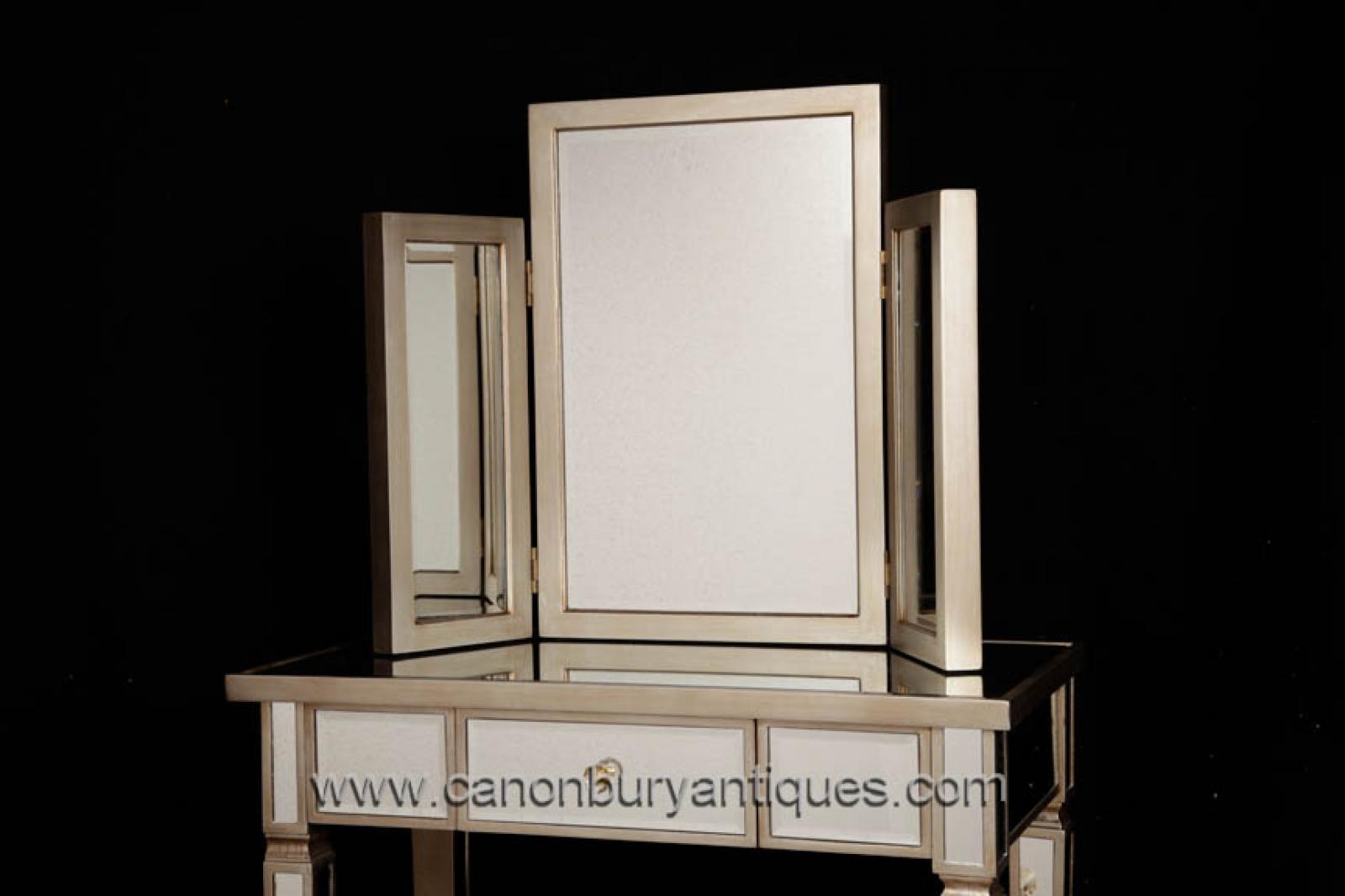 art deco mirrored bedroom furniture photo - 3