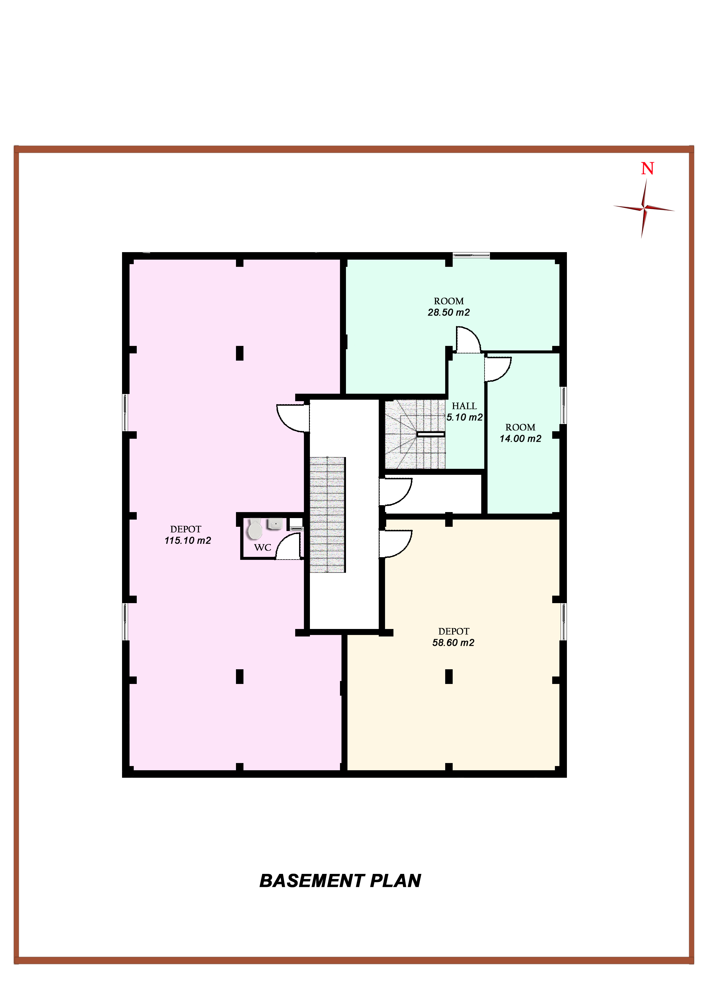 House plans with stairs in middle of room for Basement floor plans with stairs in middle