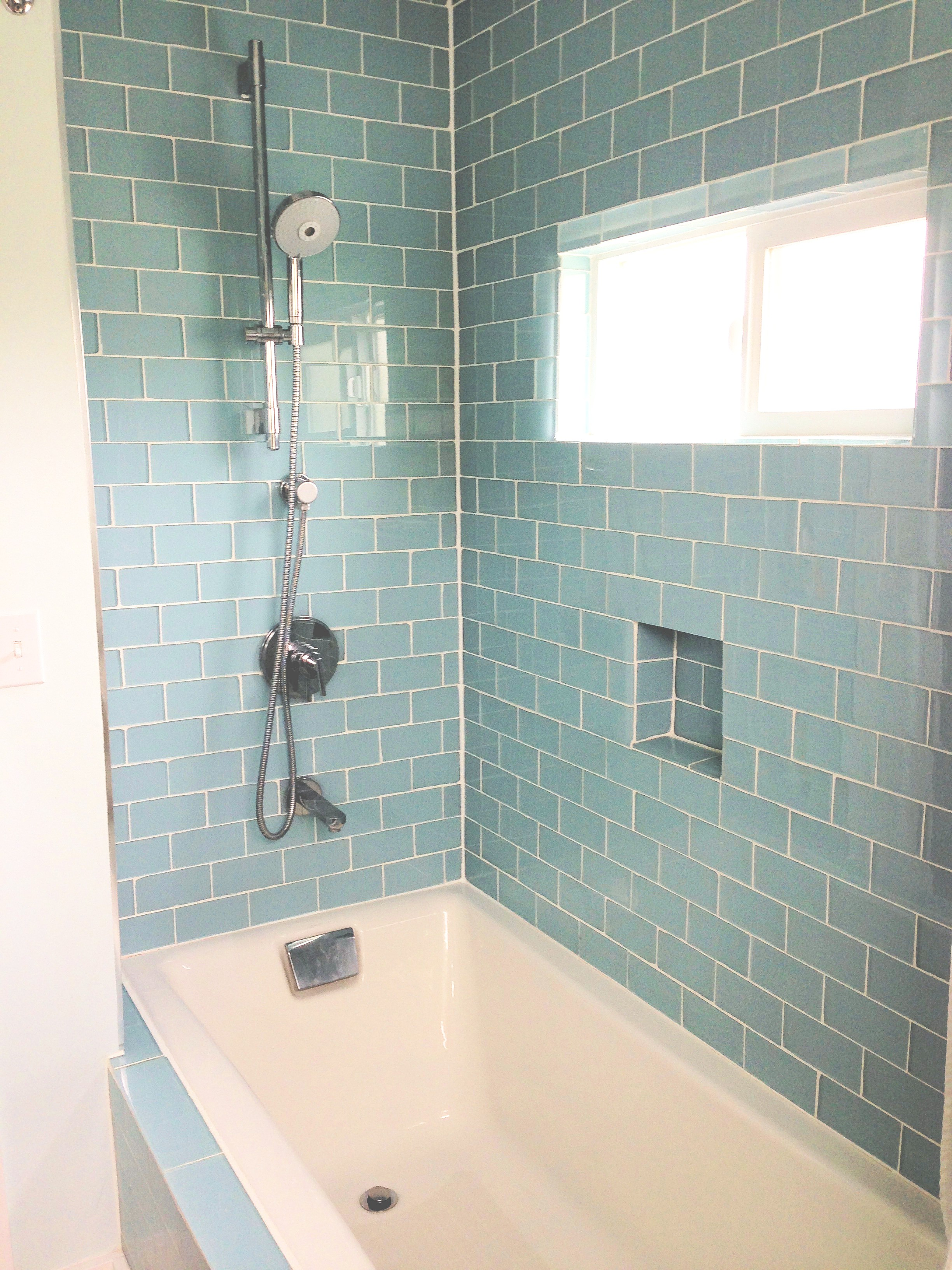 bathroom designs using glass tiles | hawk haven