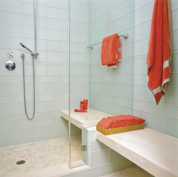 bathroom designs using glass tiles photo - 3