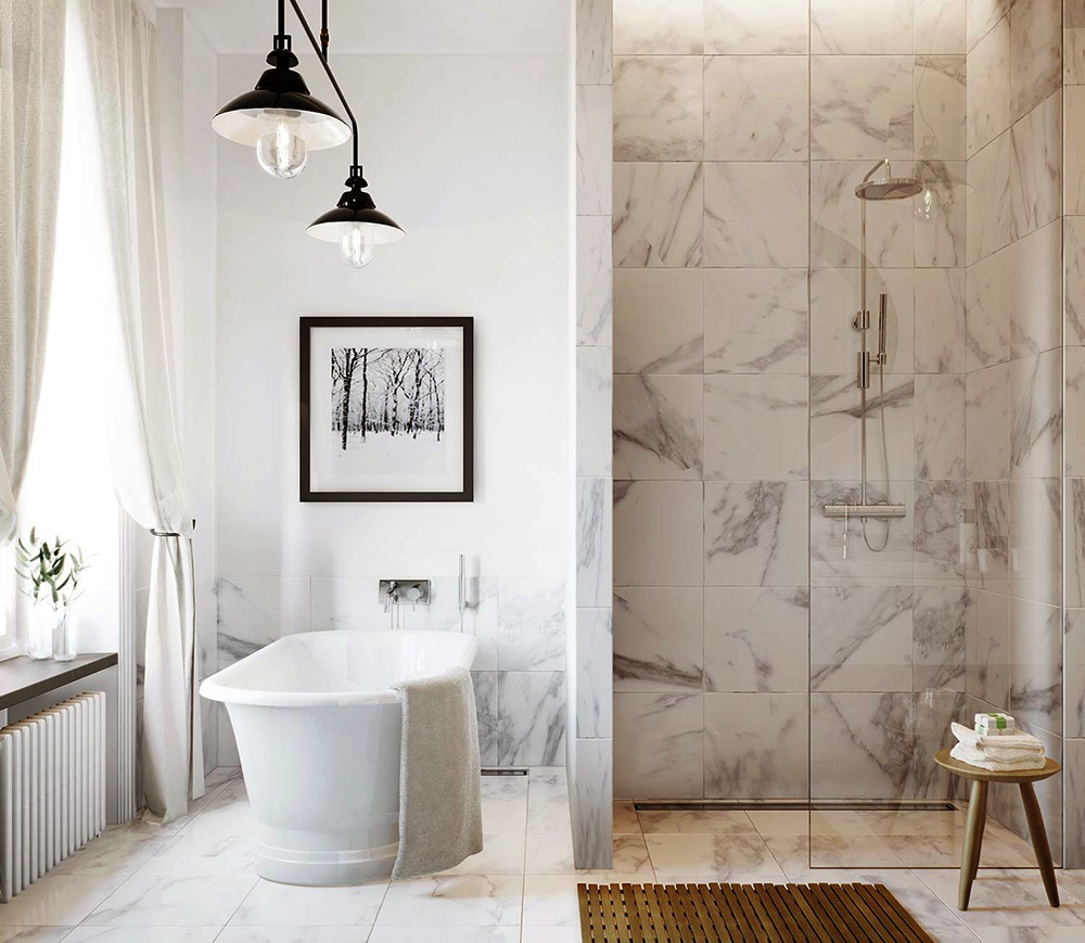 bathroom designs with marble tiles photo - 5