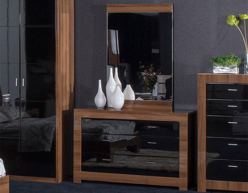 bedroom furniture black gloss and walnut photo - 10