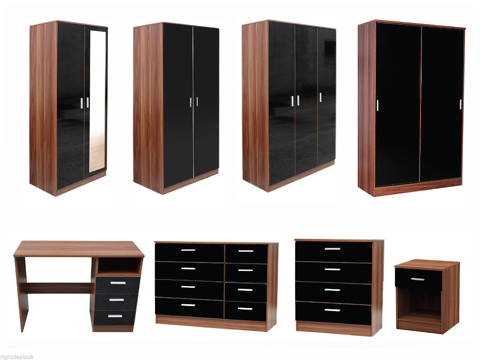 bedroom furniture black gloss and walnut photo - 2