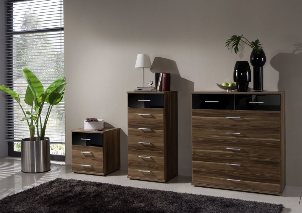 bedroom furniture black gloss and walnut photo - 3