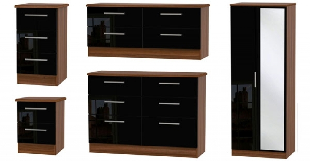 bedroom furniture black gloss and walnut photo - 6