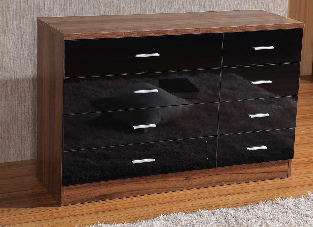 bedroom furniture black gloss and walnut photo - 7