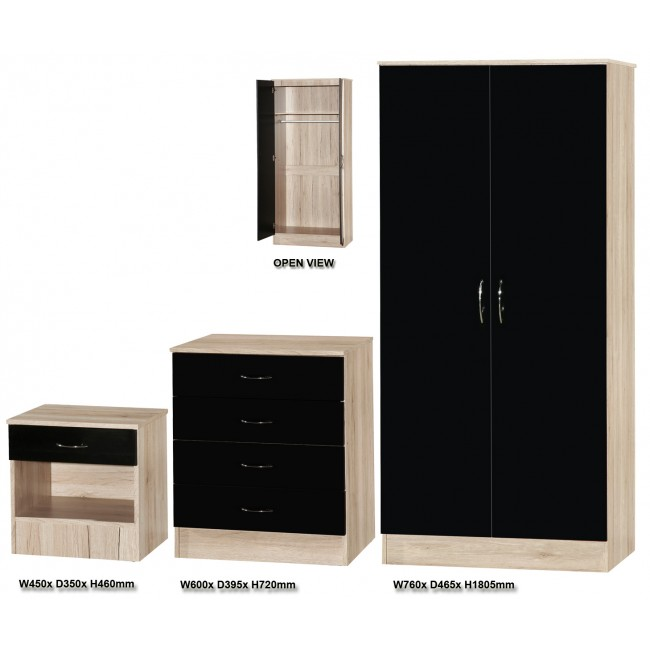 bedroom furniture black gloss and walnut photo - 9