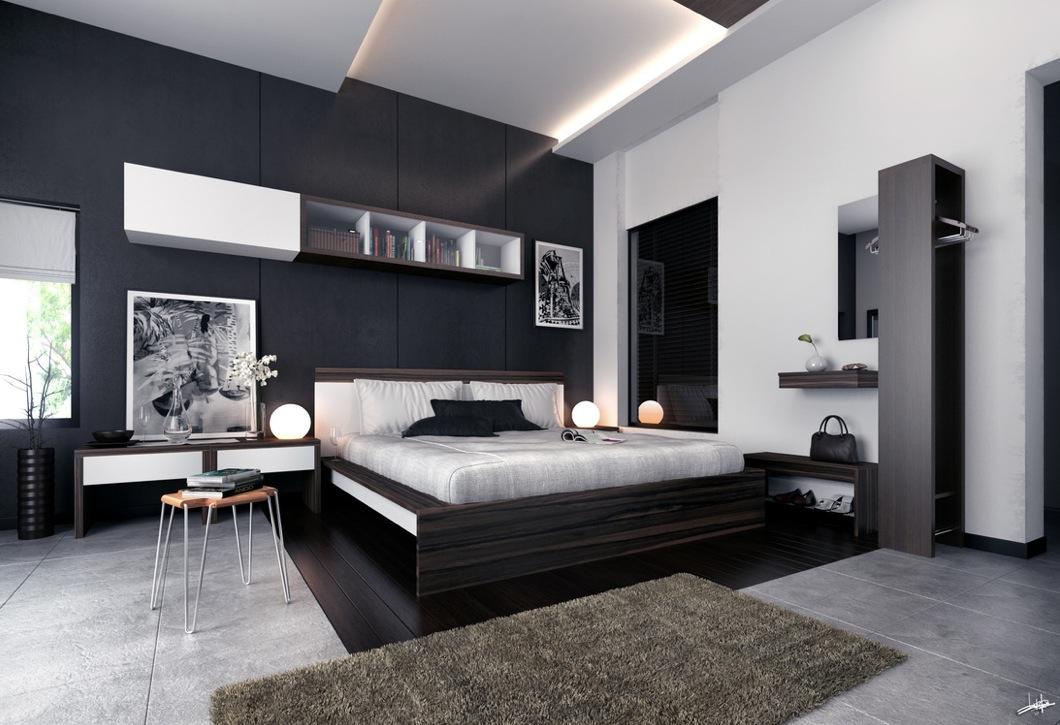 bedroom furniture black white photo - 10