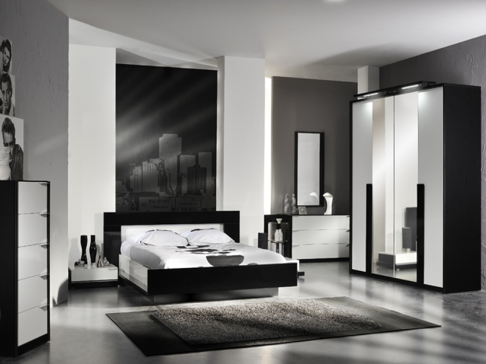 bedroom furniture black white photo - 2