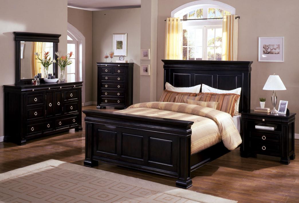 bedroom furniture black wood photo - 6