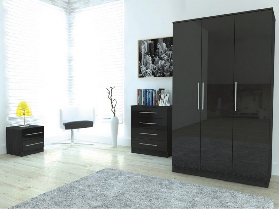 bedroom furniture high gloss black photo - 1