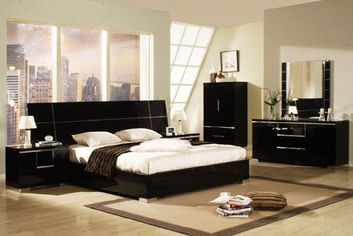 bedroom furniture high gloss black photo - 3