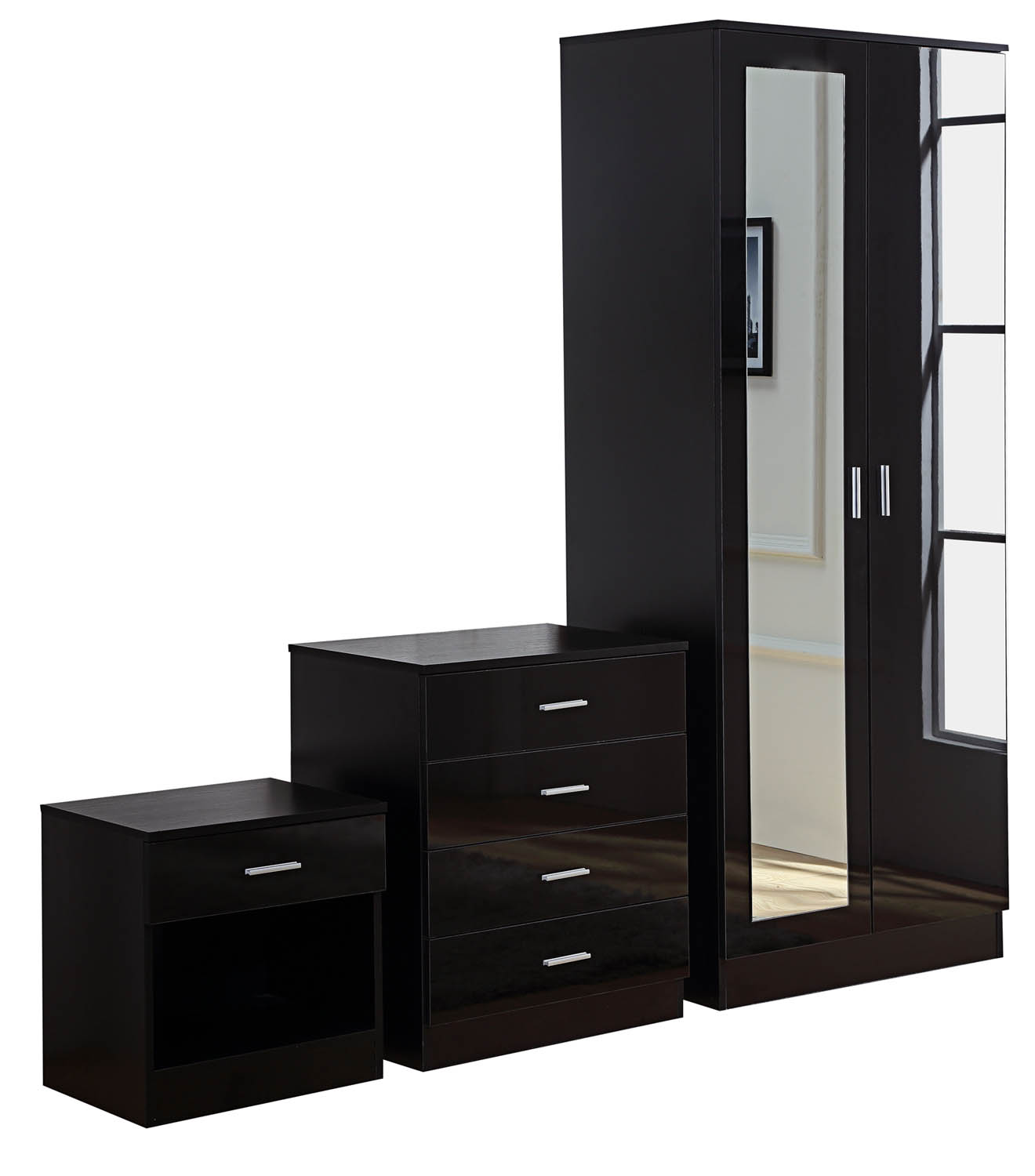 bedroom furniture high gloss black photo - 4