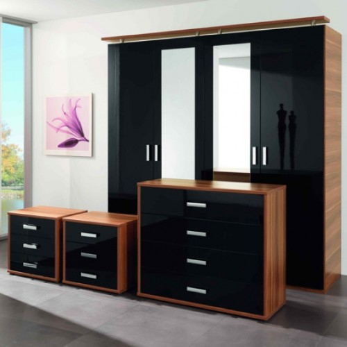 bedroom furniture high gloss black photo - 5