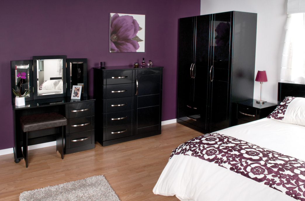 bedroom furniture high gloss black photo - 6