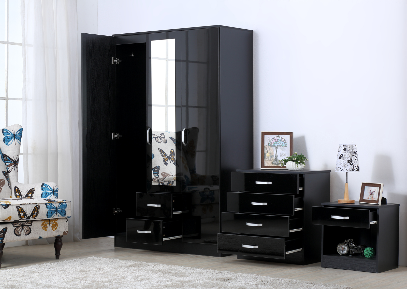bedroom furniture high gloss black photo - 9