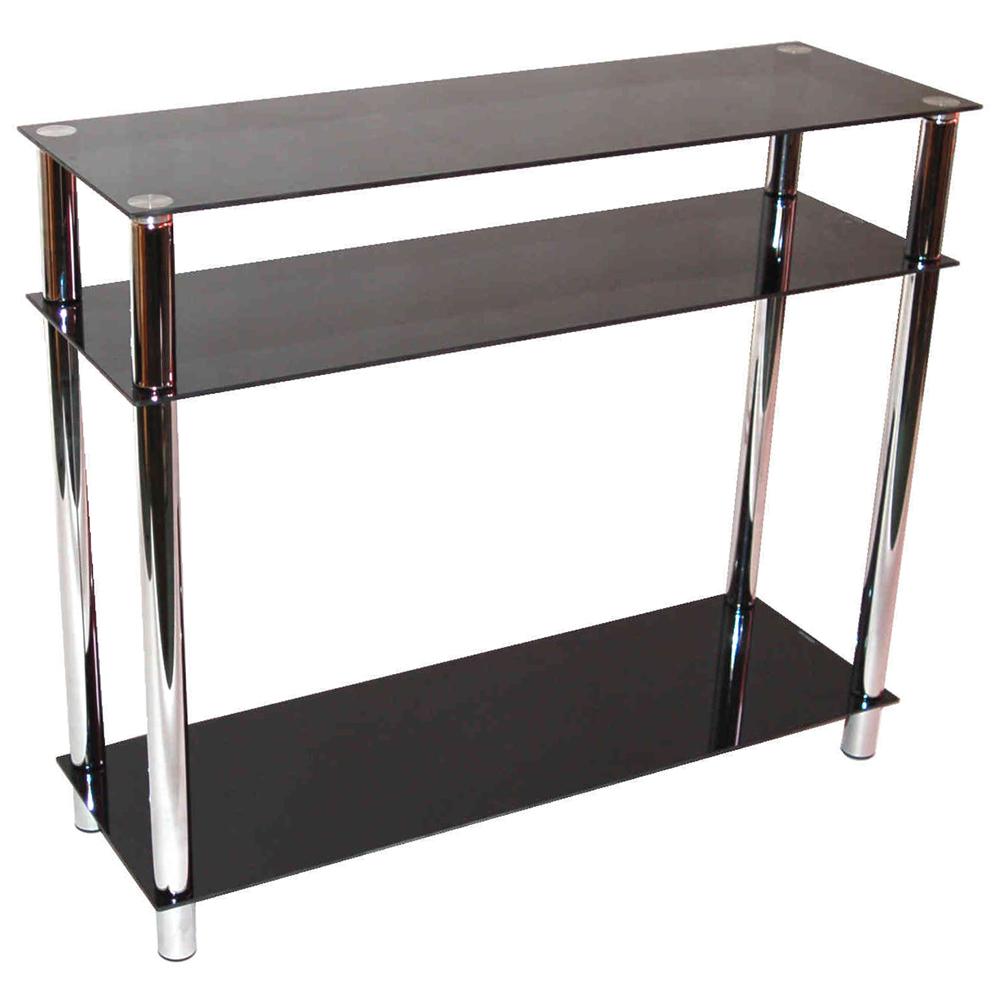 black and chrome sofa table photo - 2
