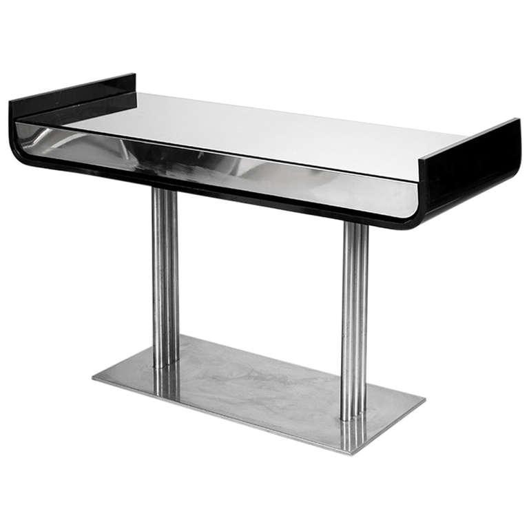 black and chrome sofa table photo - 4