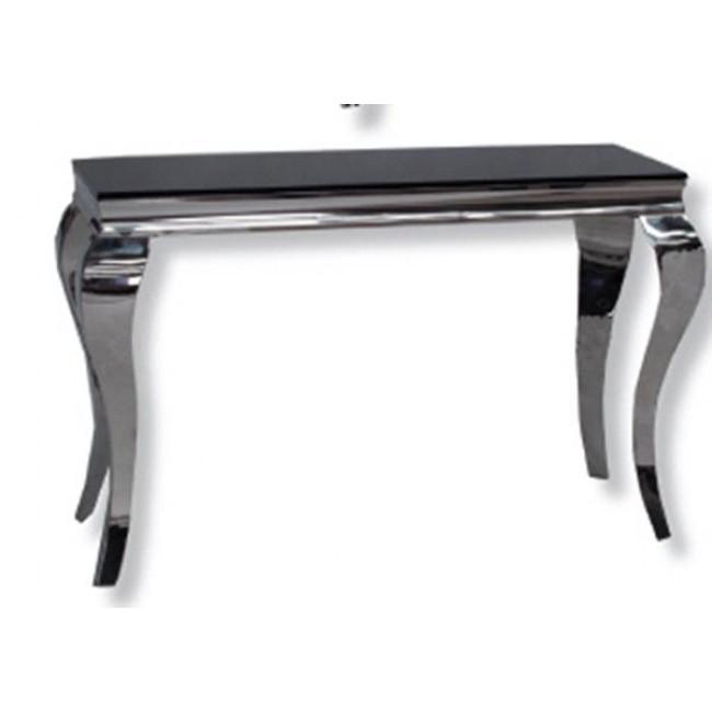 black and chrome sofa table photo - 6