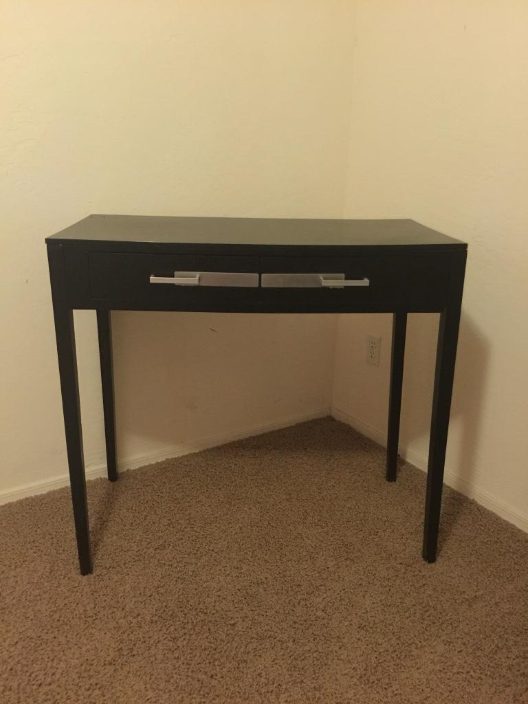 black and chrome sofa table photo - 8