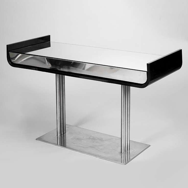 black and chrome sofa table photo - 9