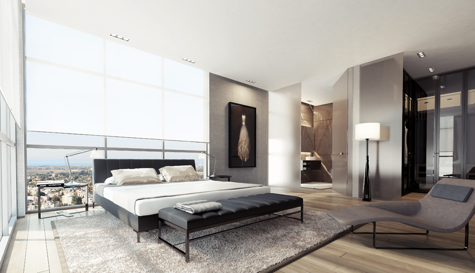 black and gray bedroom design photo - 9