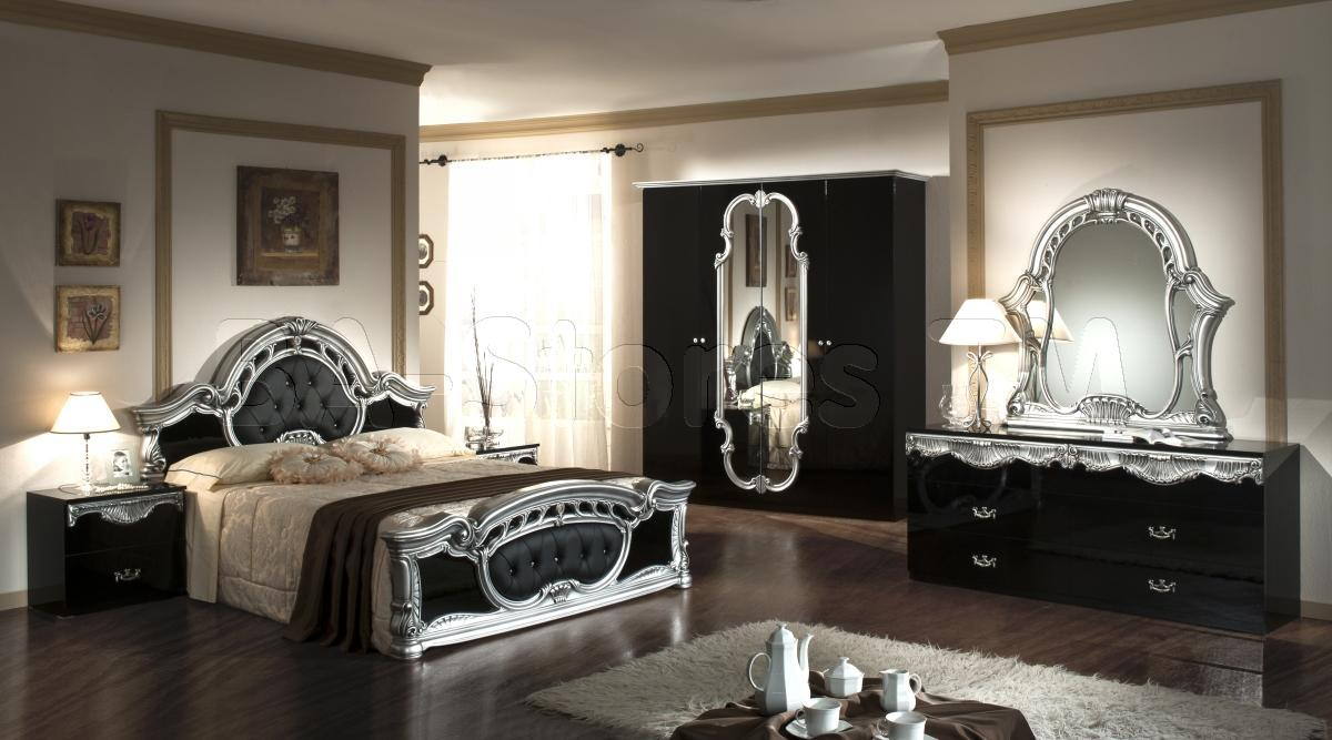 black and mirrored bedroom furniture photo - 1