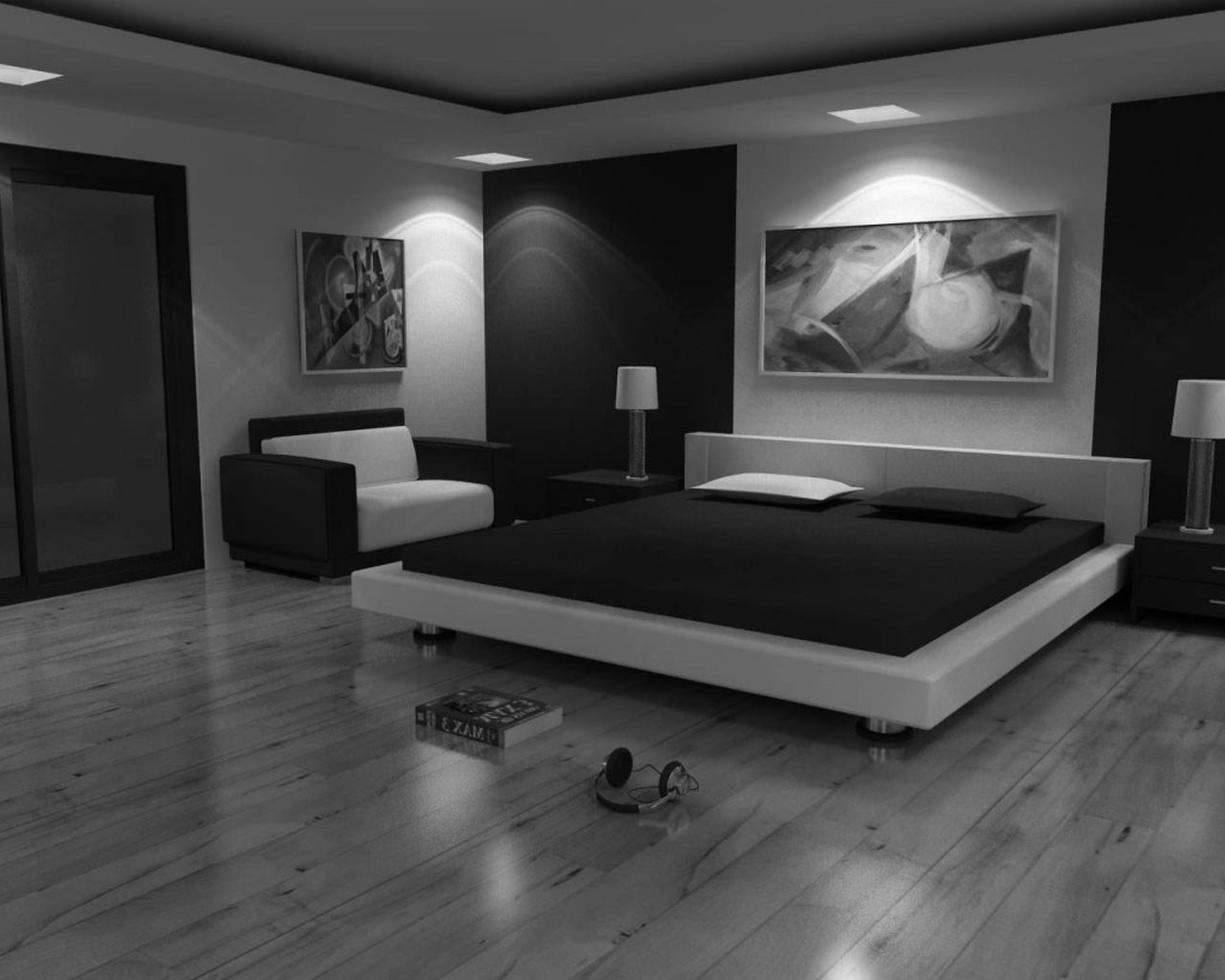 black and white bedroom designs for men photo - 2