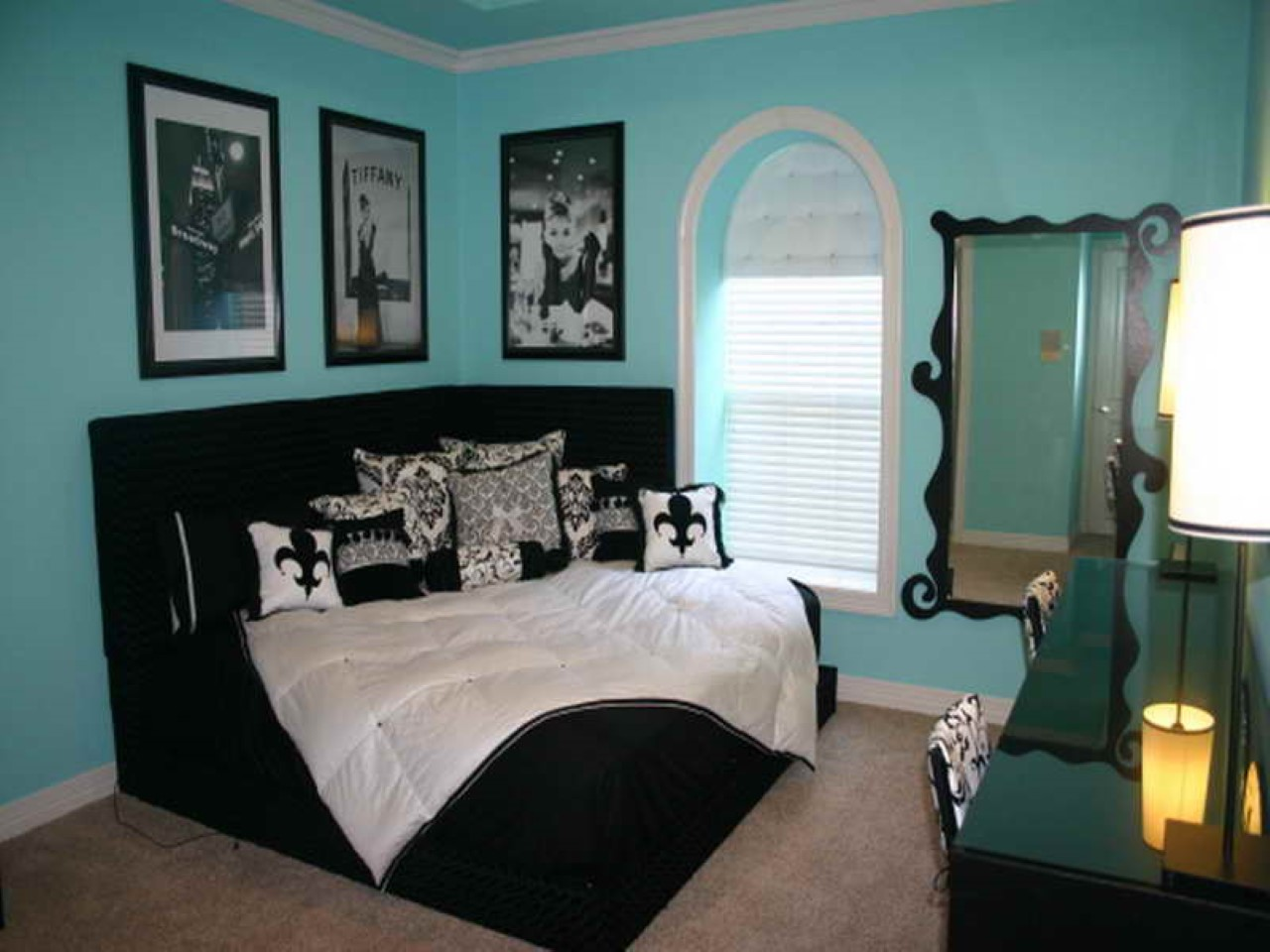 Black And White Bedrooms With Blue Accents Hawk Haven