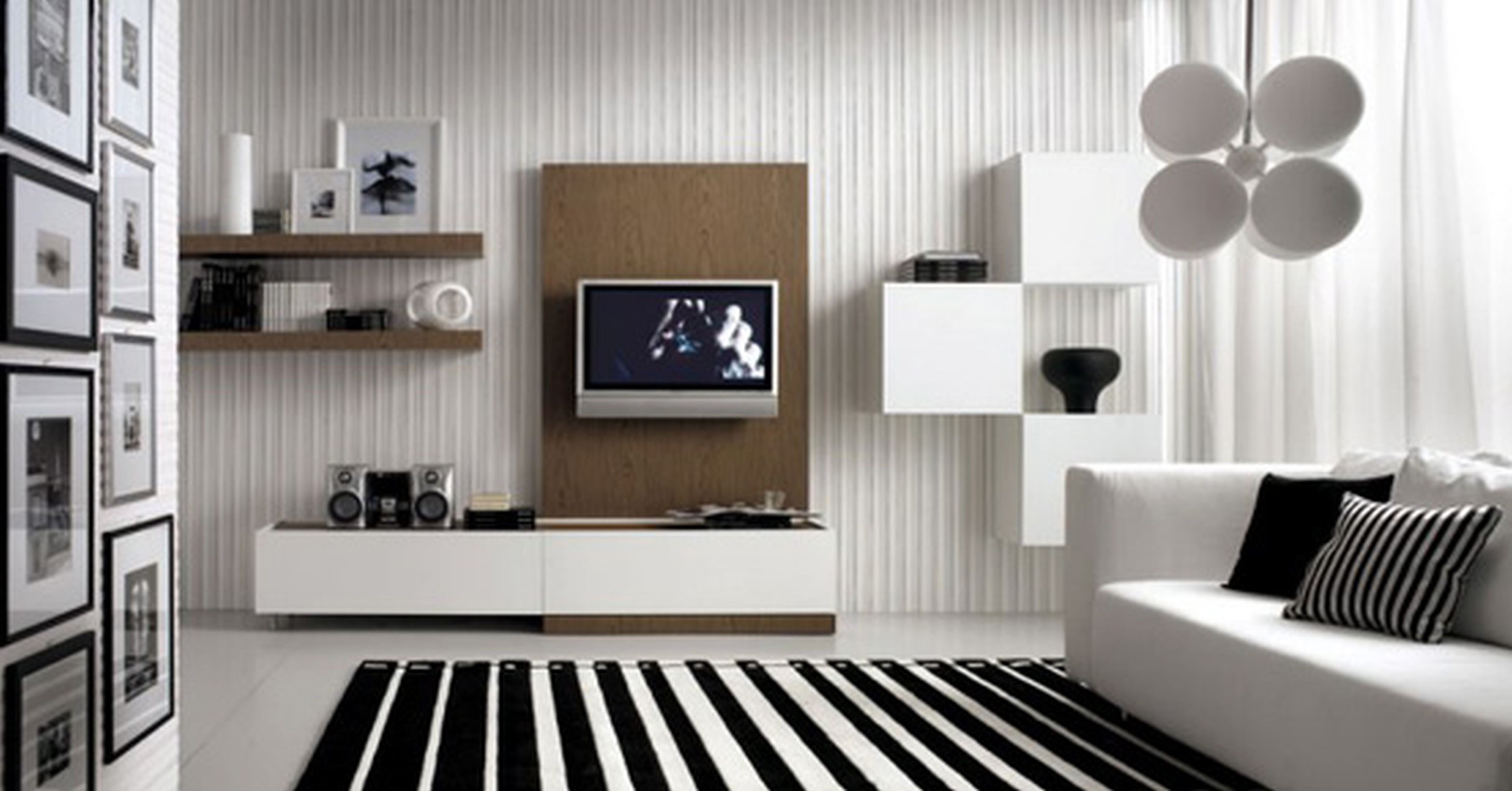 black and white room with brown furniture photo - 10