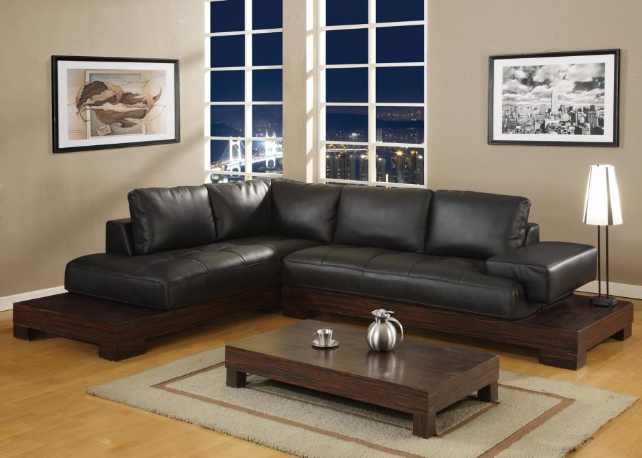 black and white room with brown furniture photo - 2