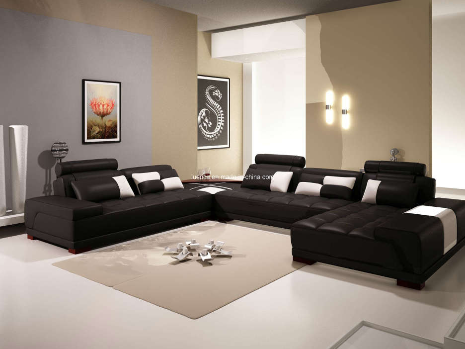 black and white room with brown furniture photo - 3
