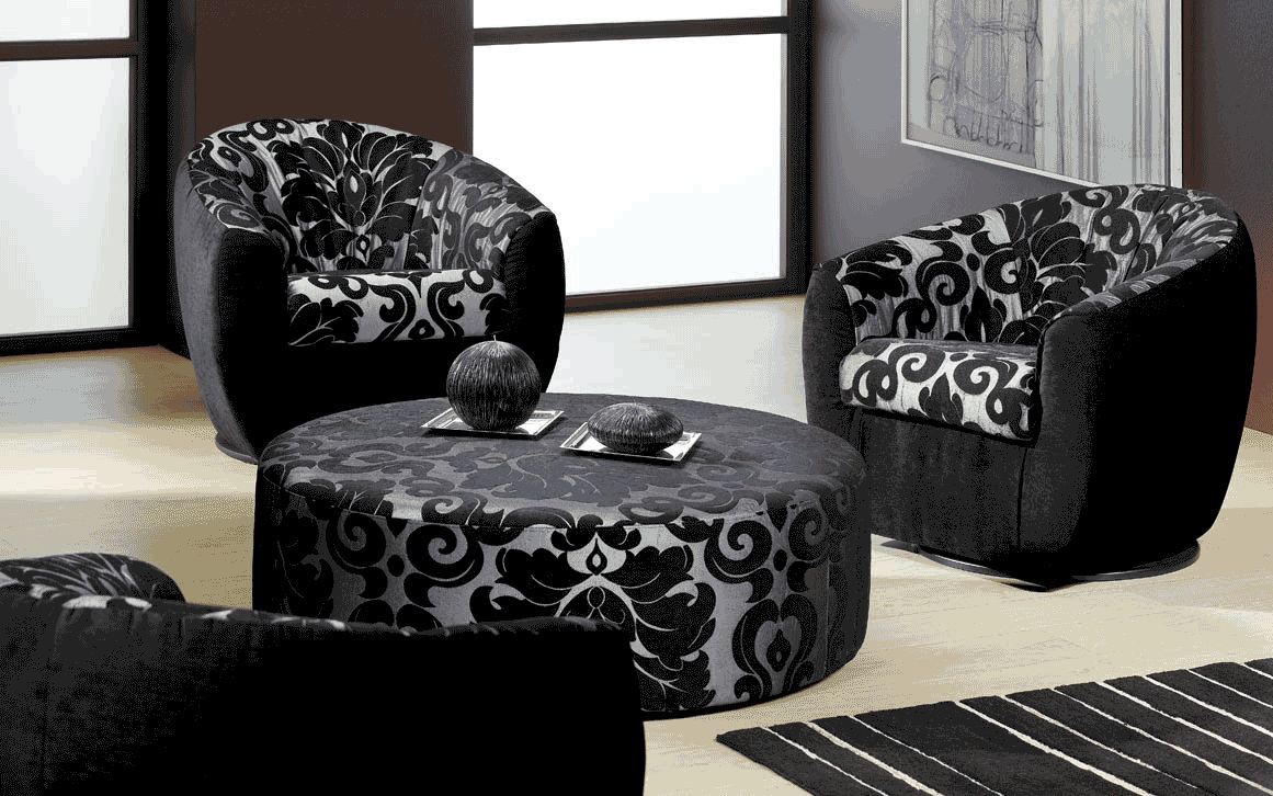 black and white room with brown furniture photo - 8