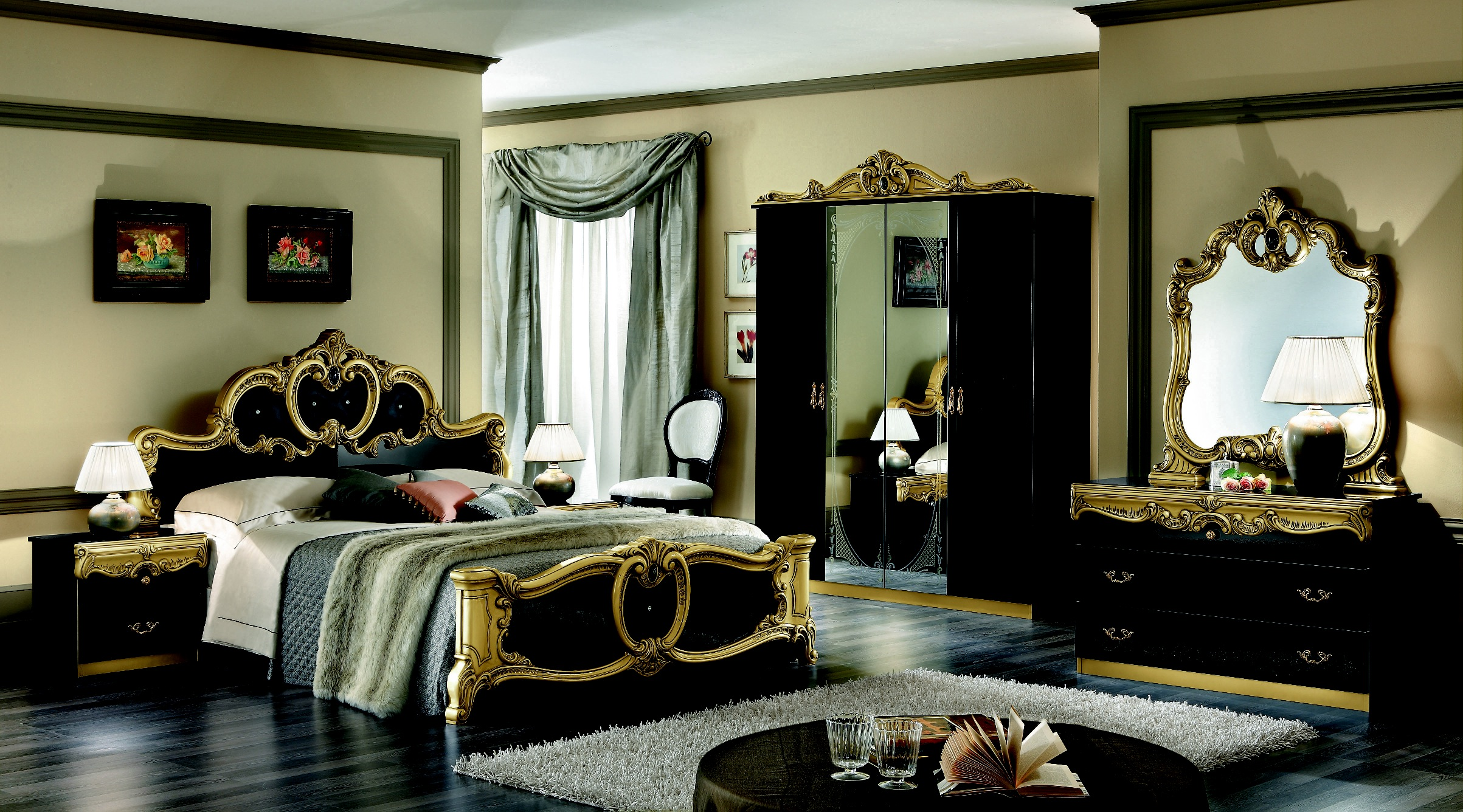 black bedroom furniture with gold trim photo - 1