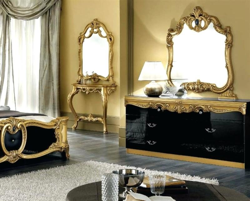 black bedroom furniture with gold trim photo - 10