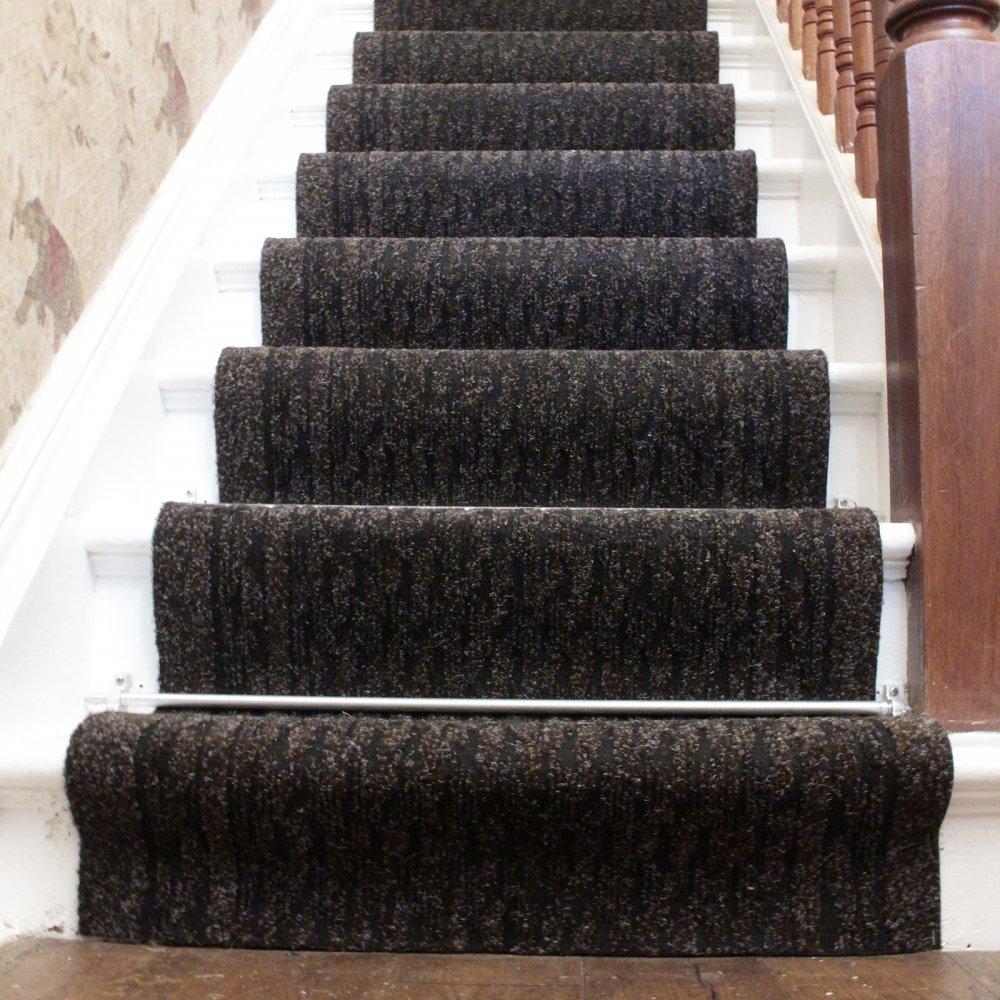 black carpet runner for stairs photo - 1