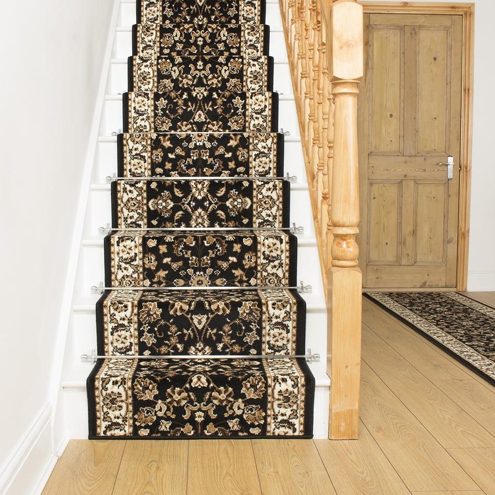 black carpet runner for stairs photo - 10