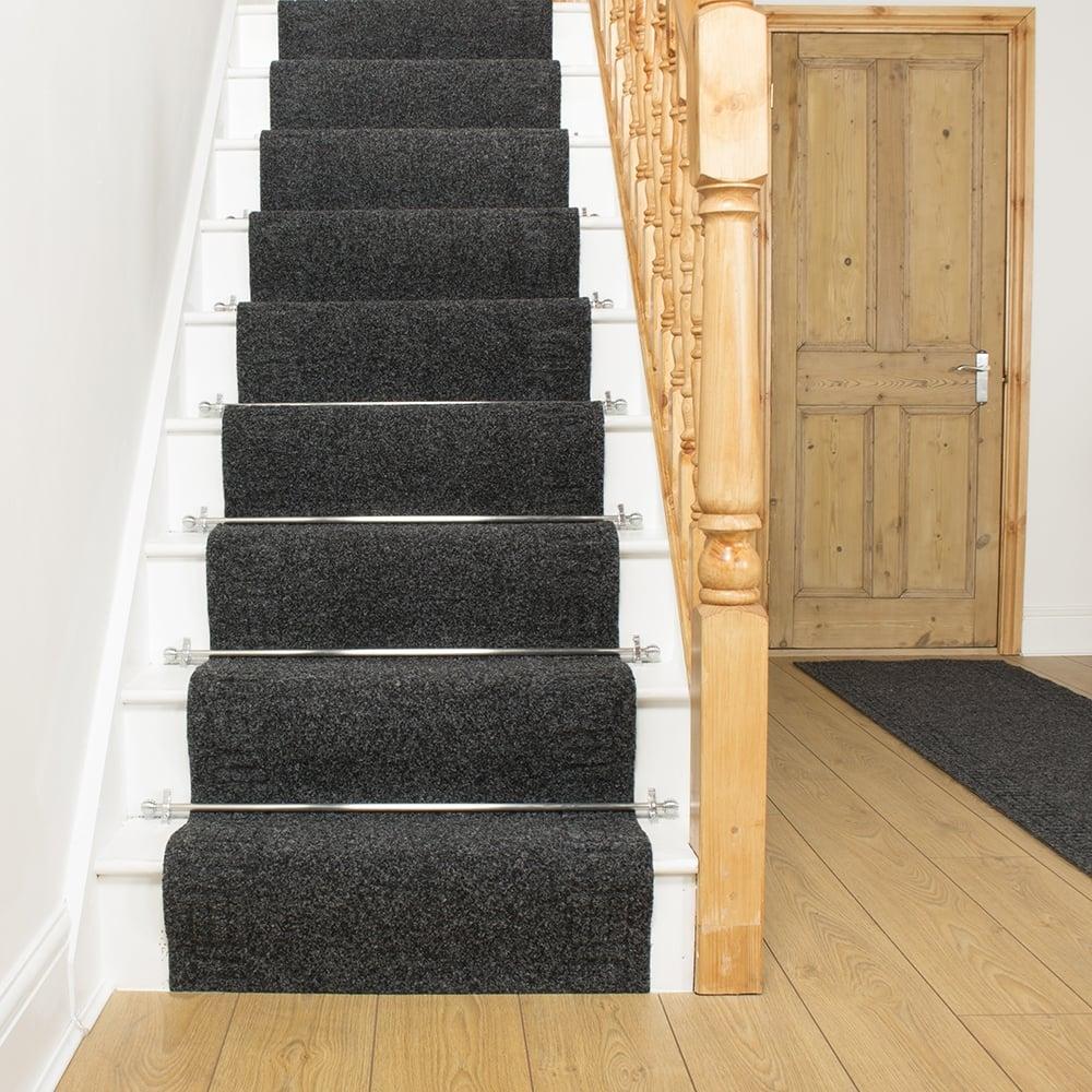 black carpet runner for stairs photo - 4