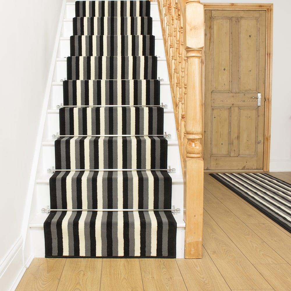 black carpet runner for stairs photo - 6
