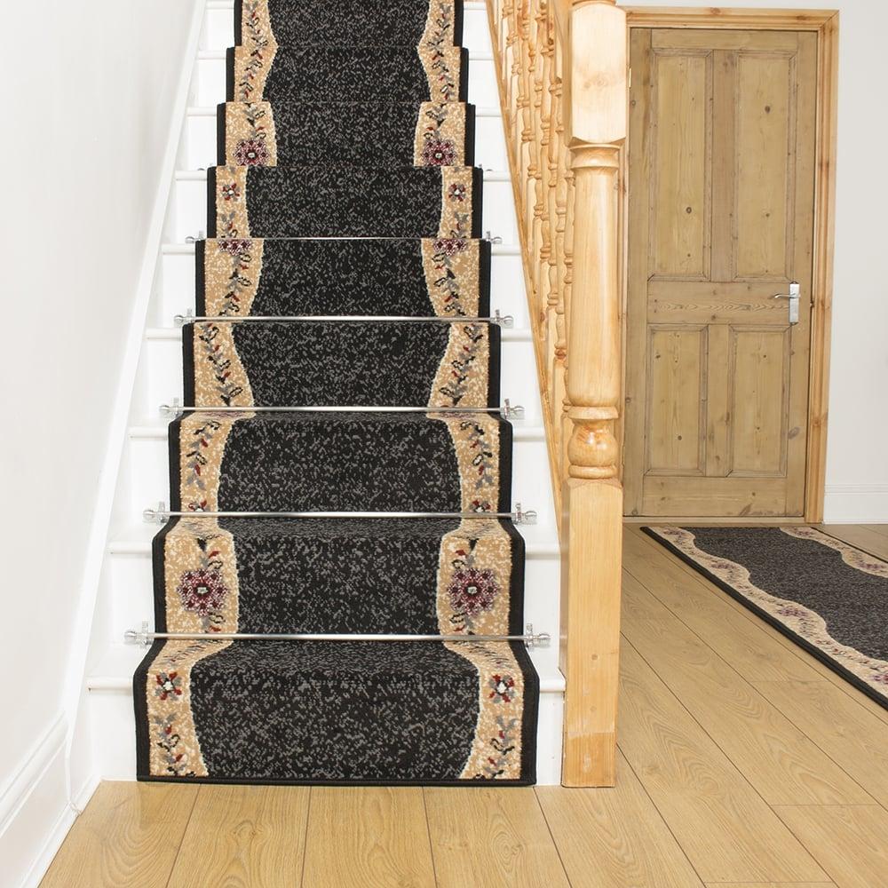 black carpet runner for stairs photo - 7