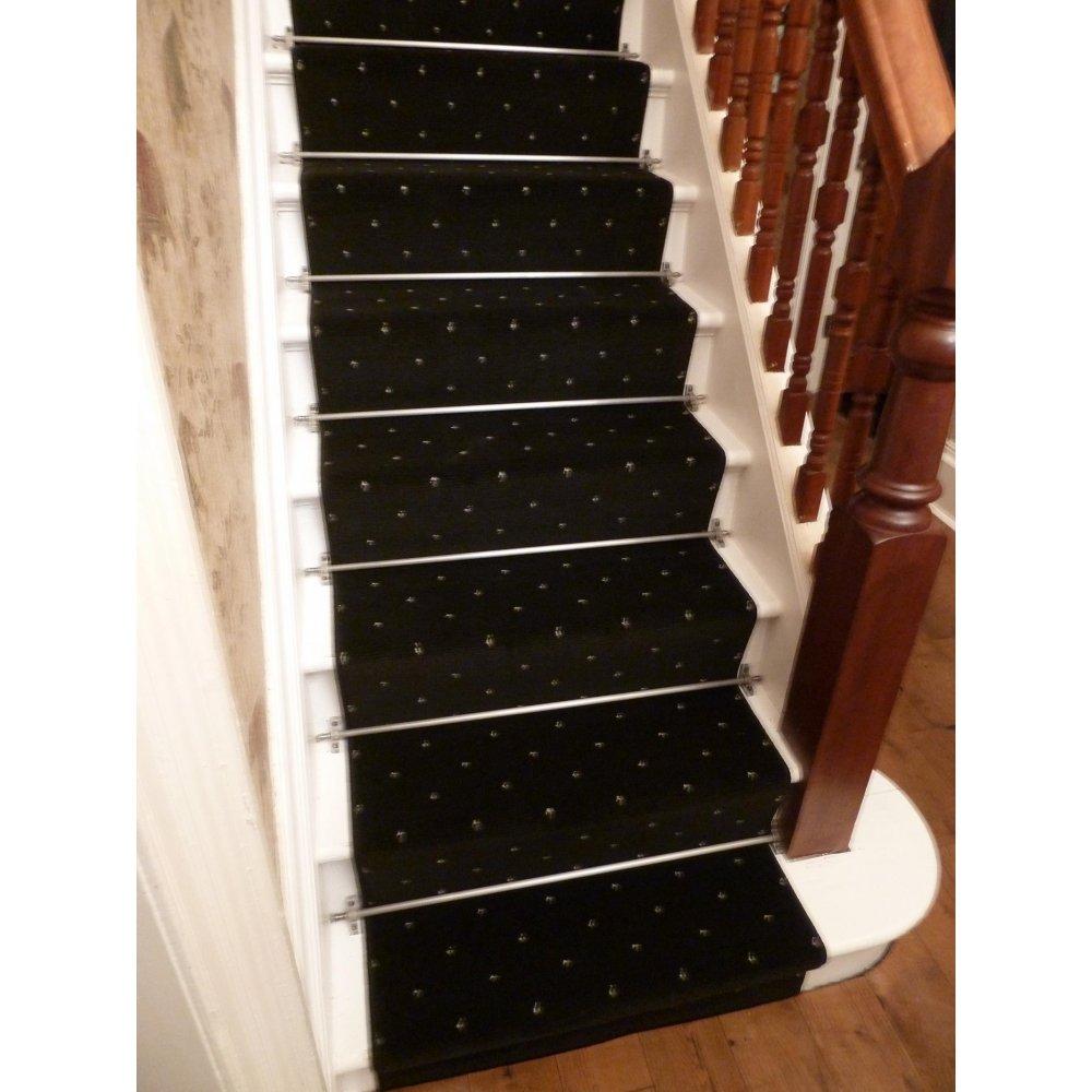 black carpet runner for stairs photo - 8